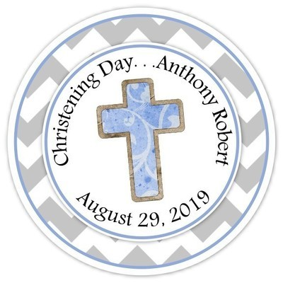 Blue and Gray Christening Day Personalized Stickers