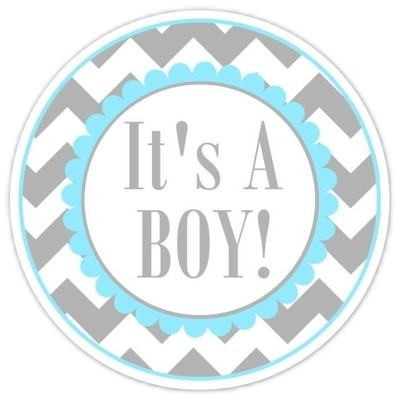 Blue and Gray Chevron It's A Boy stickers