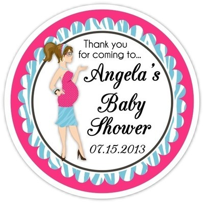 Baby Shower Pink and Blue Diva Stickers