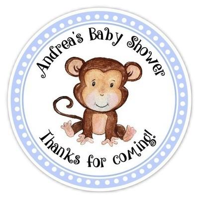 Blue Monkey Baby Shower Stickers
