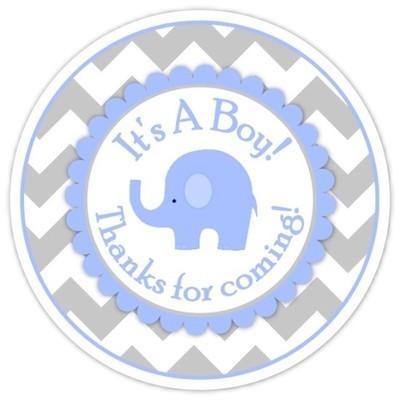Gray Blue Chevron Elephant It's A Boy Stickers