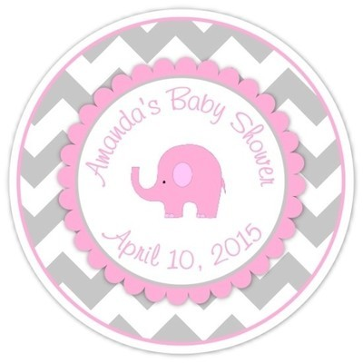 Gray Pink Chevron Elephant Baby Shower Stickers