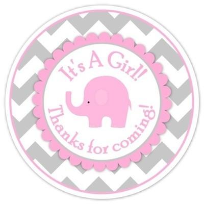 Gray Pink Chevron Elephant It's A Girl Stickers