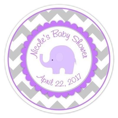 Gray Purple Chevron Elephant Baby Shower stickers