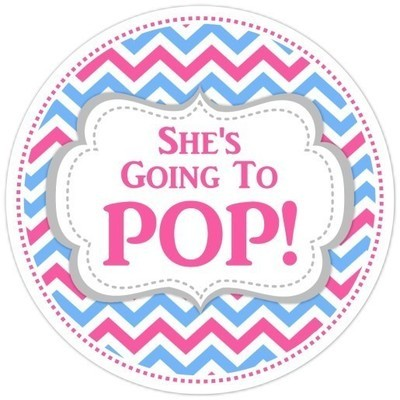 Pink and Blue Chevron Going to Pop Stickers