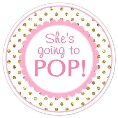 Pink and Gold Polka Dots She's Going to Pop Stickers