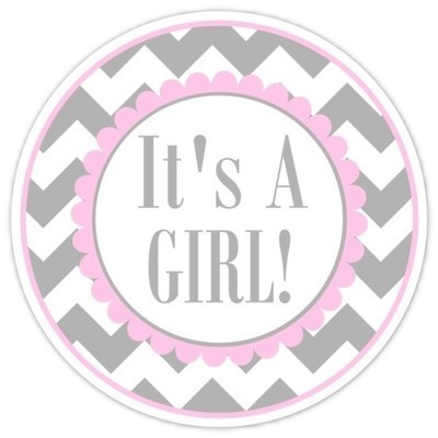 Pink and Gray Chevron It's A Girl Stickers