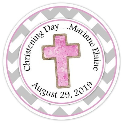 Pink and Gray Christening Day Personalized Stickers