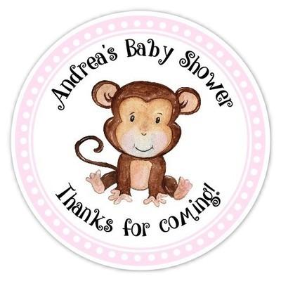 Pink Monkey Baby Shower Stickers