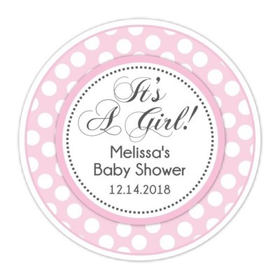 Pink Polka Dot It's A Girl Baby Shower Stickers
