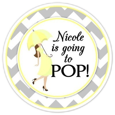 Yellow and Gray Chevron Baby Bump Going to Pop Stickers