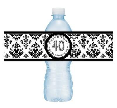 40th Birthday Water Bottle Labels - Black Damask