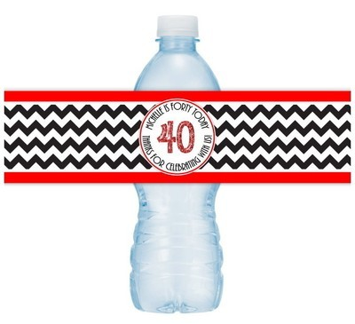 Black and Red Chevron 40th Birthday Water Bottle Labels
