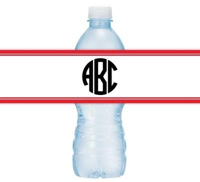 Circle Monogram Wedding Water Bottle Labels