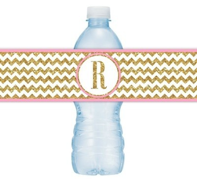 Gold and Pink Chevron Monogram Water Bottle Labels