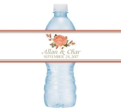 Autumn Floral Wedding Water Bottle Labels