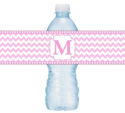 Pink Chevron Monogram Water Bottle Labels