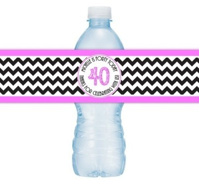 Hot Pink and Black Chevron 40th Birthday Water Bottle Labels