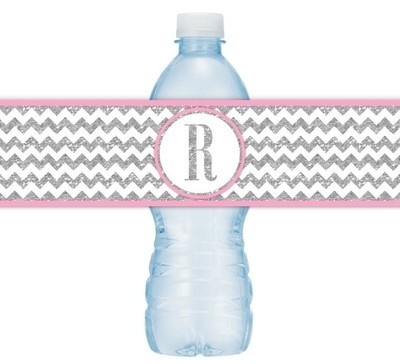 Silver and Pink Monogram Water Bottle Labels
