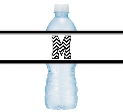 Zebra Monogram Water Bottle Labels