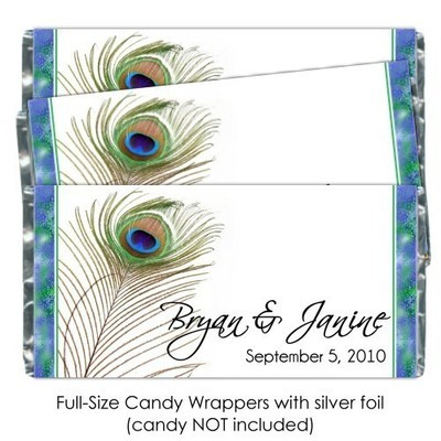 Beautiful Peacock Feather Candy Bar Wrapper