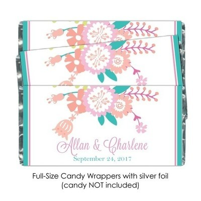 Pastel Floral Wedding Candy Wrappers
