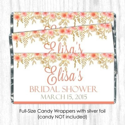 Peach Gold Floral Wedding Candy Wrappers
