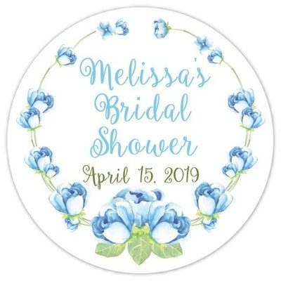 Blue Floral Watercolor Bridal Stickers