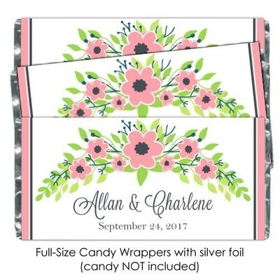 Pink Pastel Floral Wedding Candy Wrappers