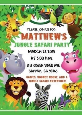 Jungle Safari Birthday Invitations