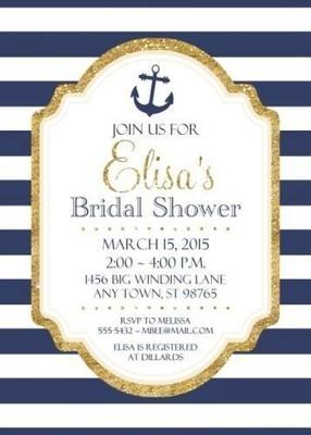 Nautical Bridal Shower Invitations, 5x7 size