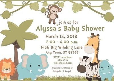 Baby Animals Safari Baby Shower Invitations