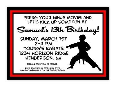 Karate Birthday Invitation Postcards