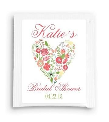 Floral Heart Bridal Shower Tea Bag Favor