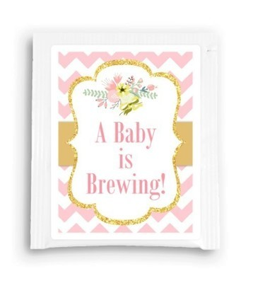 Gold and Pink Floral A Baby Is Brewing Tea Favor