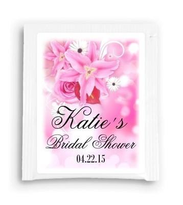 Beautiful Pink Floral Bridal Shower Tea Bag Favor