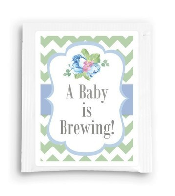 Blue Floral A Baby is Brewing Tea Favor