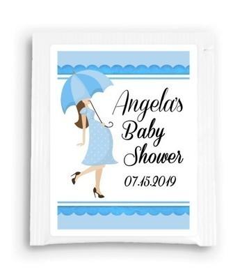 Blue Umbrella Baby Shower Tea Favor
