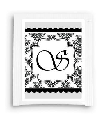 Black Monogram Bridal Shower Tea Bag Favor