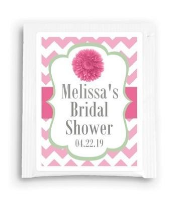Pink and Green Daisy Bridal Shower Tea Bag Favor