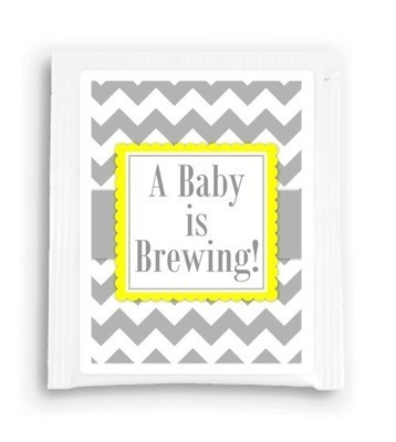 Yellow and Gray A Baby is Brewing Tea Favor