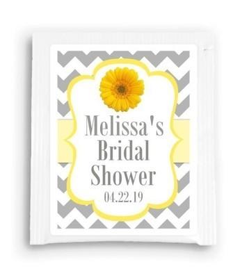 Yellow Gray Daisy Bridal Shower Tea Bag Favor