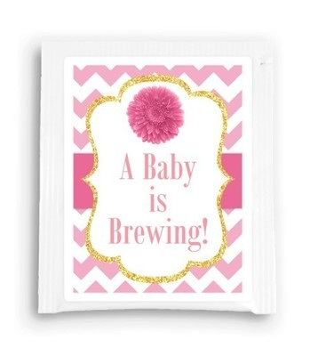 Pink Daisy A Baby is Brewing Tea Favor