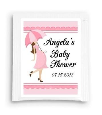 Pink Umbrella Baby Shower Tea Favor