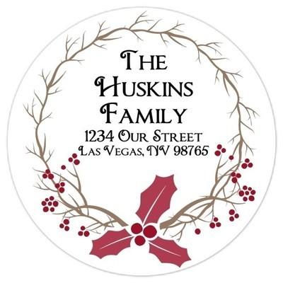 Christmas Laurel Address Stickers