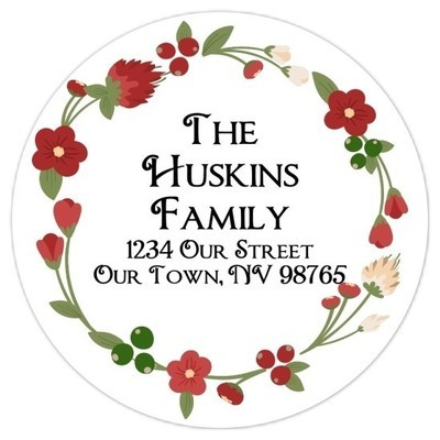 Christmas Floral Wreath Address Stickers