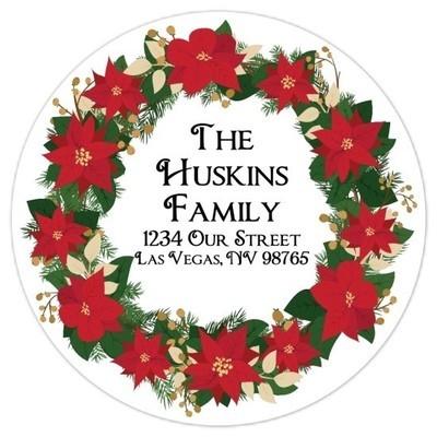 Christmas Wreath Address Stickers