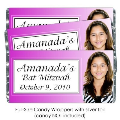 Pink Bar Mitzvah Candy Bar Wrappers