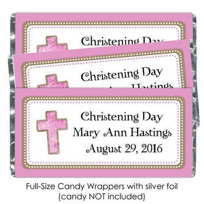 Pink Baptism or Christening Candy Wrappers with Cross
