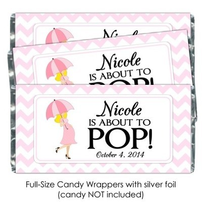 Pink Chevron Blonde Umbrella About to POP Candy Wrappers